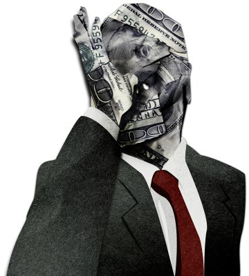 Businessman thumbs his nose