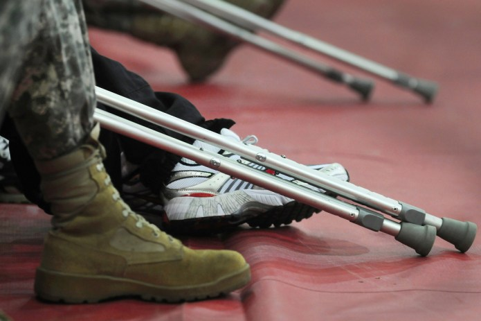 Soldiers boots and crutches