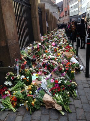 Mourners leave flowers at Copenhagen's main synagogue.