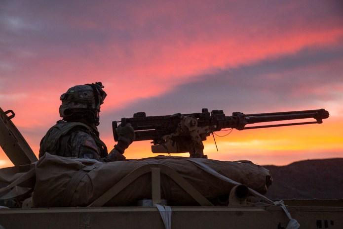 U.S. troops at dusk