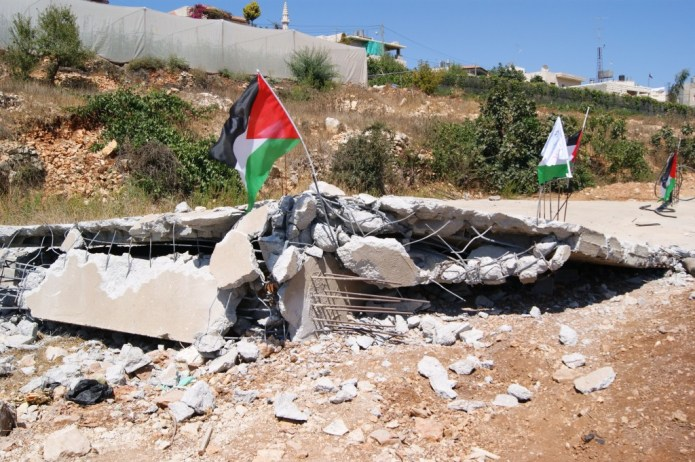 A bulldozed Palestinian home in the village of Beit Ommar. (Source: Palestine Solidarity Project)