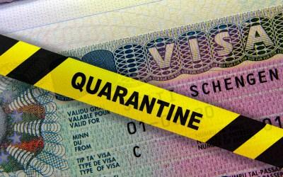 A passport with a quarantine sticker on it