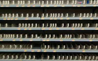 Empty medicine shelves shortly after the National Emergency was declared for Covid-19