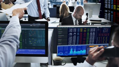 People working in stock market exchange