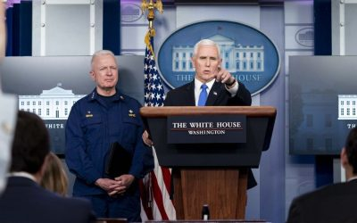 VP Mike Pence at a White House press briefing