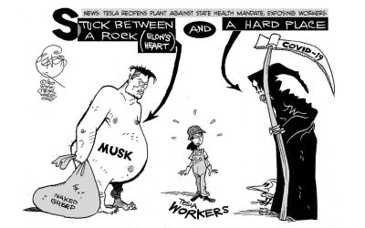 elon musk and tesla worker cartoon