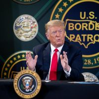 ICE and CBP - President Donald Trump, along with Acting Secretary Chad Wolf and Acting Commissioner Mark Morgan, visited the border wall in Yuma, Arizona on June 23, 2020