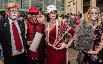 Zombie Trump, his wife Melania and daughter Ivanka were seen at the 10th annual Asbury Park Zombie Walk