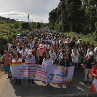 Land defenders march in the municipality of Mataquescuintla, celebrating years of resistance (Photo- Xinka Parliament)