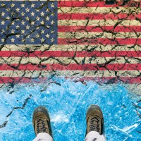 Responsibility of USA on global climate policy and greenhouse effect. Man standing on the edge of ice in front of the desert wasteland with american flag.