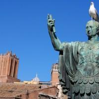 Statue of Nero Claudius Caesar Augustus Germanicus (Statua di Nerva) that is near Trajan's Forum, Rome, Italy