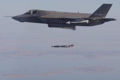 US bombs syria - an f-35 is dropping bombs