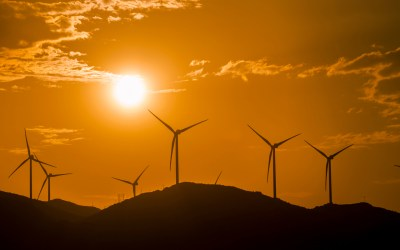 wind turbines to depict renewable energy and public ownership of utilities