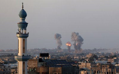 Israeli air strikes on the city of Rafah in the southern Gaza Strip, on May 12, 2021. Photo by Abed Rahim Khatib