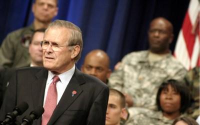 Donald Rumsfeld at his final Town Hall Meeting