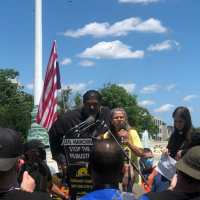 Pamela Garrison, a member of the Poor People's Campaign West Virginia chapter, addresses the crowd
