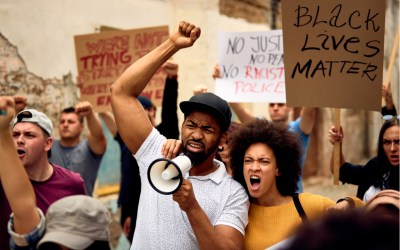 people marching at a black lives matter protest