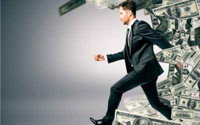 rich person running and money following