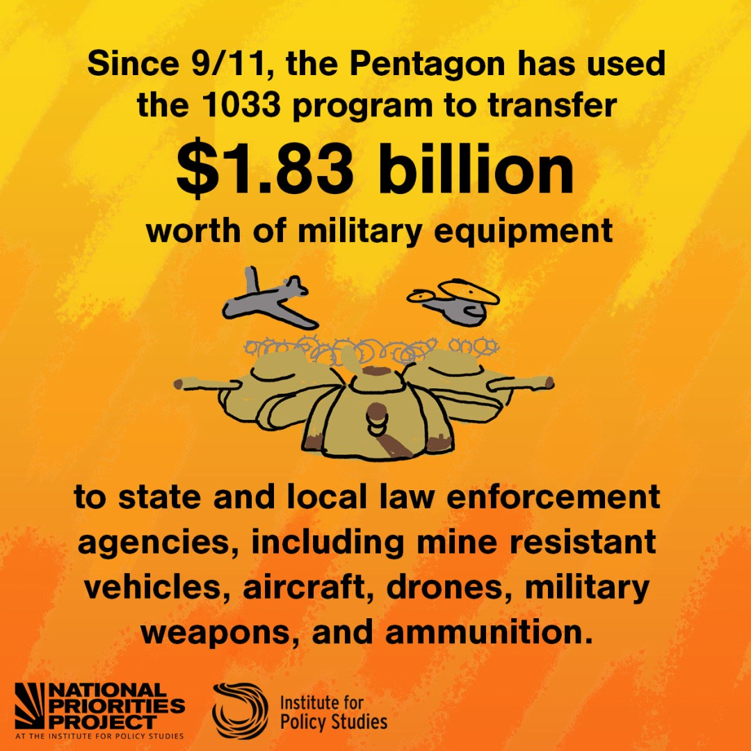"""A graphic with a bright yellow and red background says """"In the 20 years since 9/11, the U.S. response of thoroughly militarizing foreign and domestic policy has cost us over $21 trillion."""" Beneath the text is an illustration of endless piles of money fading into the distance. Underneath are the logos for the National Priorities Project and the Institute for Policy Studies."""