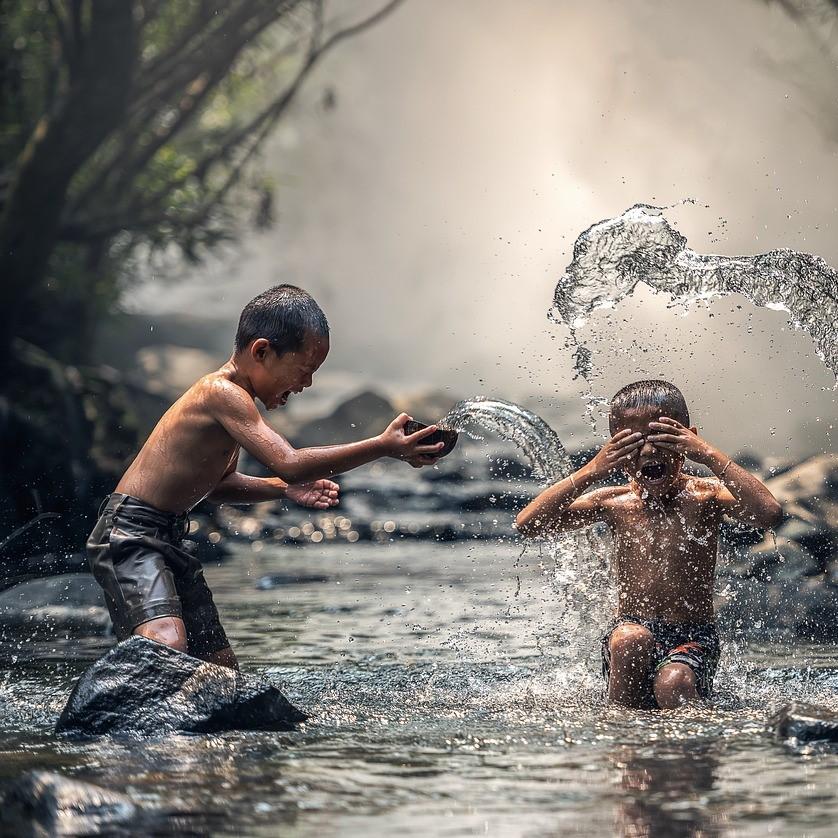 Horseplay, children playing, boys splashing