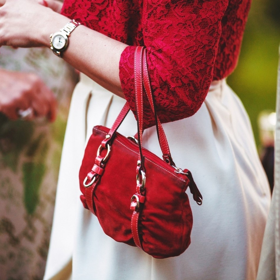 Property, red handbag