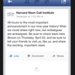 Harvard Stem Cell Institute Teases Tomorrow Will Bring Biggest Announcement Ever: Predictions