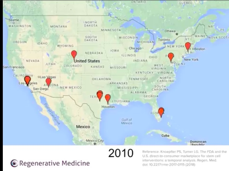 stem cell clinic animated map 2010