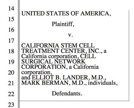 USA vs. California stem cell; The Niche