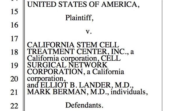USA vs. California stem cell treatment