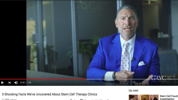 Andrew Yaffa stem cell clinics, lawsuits
