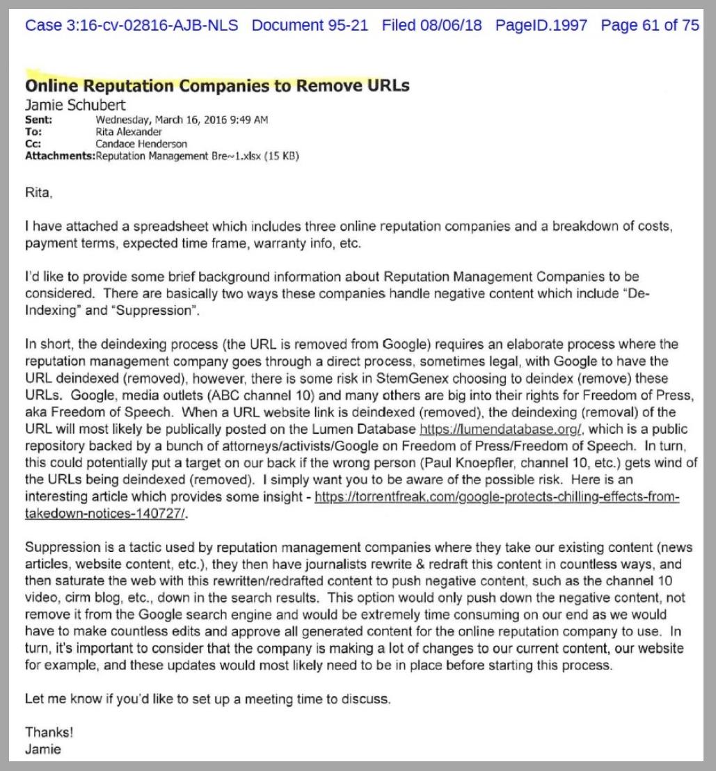 Stemgenex lawsuit Pacer doc