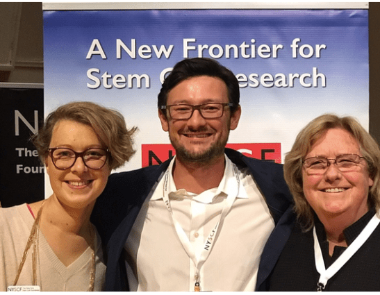 The scientists Valentina Fossi (NYSCF), Andres Bratt-Leal (Summit) and Jeanne Loring