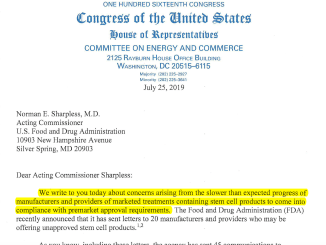 Congress letter to FDA stem cell clinics 2019