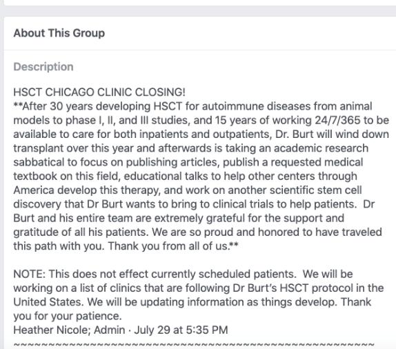 Richard Burt HSCT Northwestern FB page patients