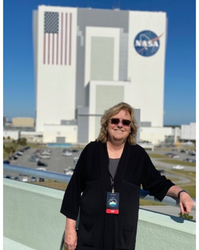 Jeanne Loring at NASA to watch her stem cells go into space.
