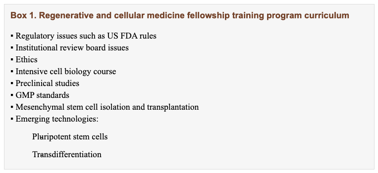 stem cell doctor, Rigorous physician training in stem cells and regenerative medicine