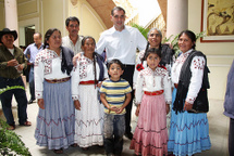 Incoming Oaxaca governor with indigenous family, on the eve of his inauguration. / Credit:Courtesy of GabinoCue.org