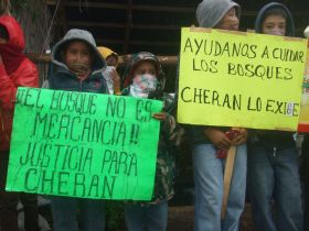 Indigenous children hold placards supporting the struggle in Cherán. / Credit:Daniela Pastrana/IPS