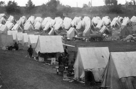 The army provided tents for refugees