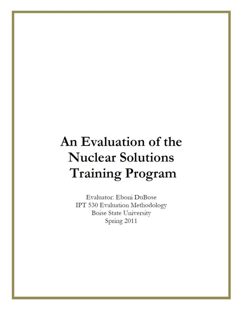 Evaluation Proposal: An Evaluation of the Nuclear Solutions Training Program (3/3)