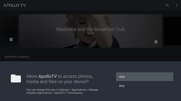 Launch Apollo TV app on Firestick