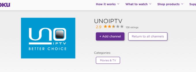 UNO IPTV on Roku