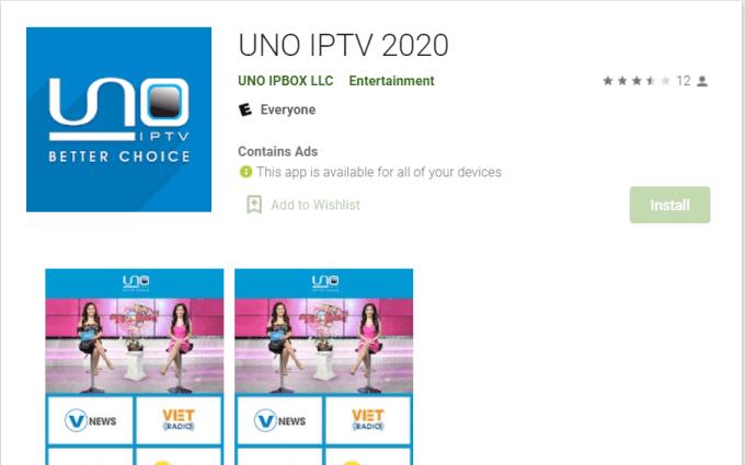 UNO IPTV on Android