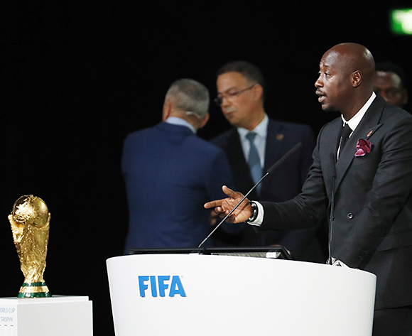 Former Senegalese midfielder Khalilou Fadiga  speaks during the presentation of the Morocco 2026 FIFA World Cup bid at the 68th FIFA Congress in Moscow, Russia, 13 June 2018  EPA/SERGEI CHIRIKOV