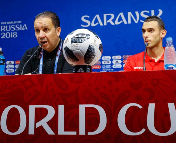 Tunisia coach Nabil Maaloul (L) and midfielder Ellyes Skhiri (R) during a press conference at Mordovia Arena in Saransk, Russia, 27 June 2018. Tunisia plays Panama in a FIFA World Cup 2018 group G match on 28 June 2018. EPA/Erik S Lesser
