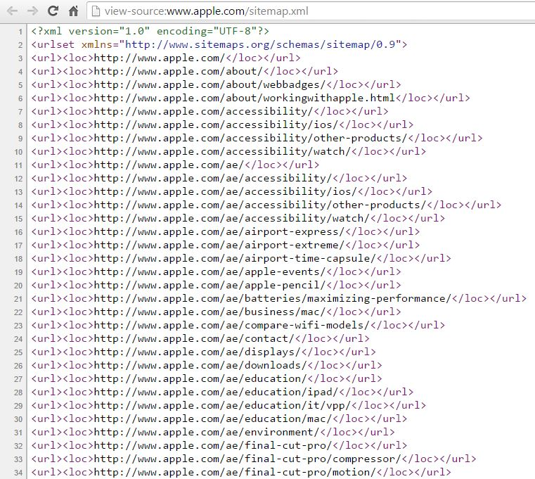 Apple Sitemap View Source Ipullrank