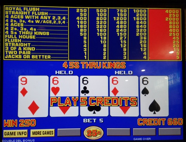 quarter sixes wild wild west double double bonus video poker