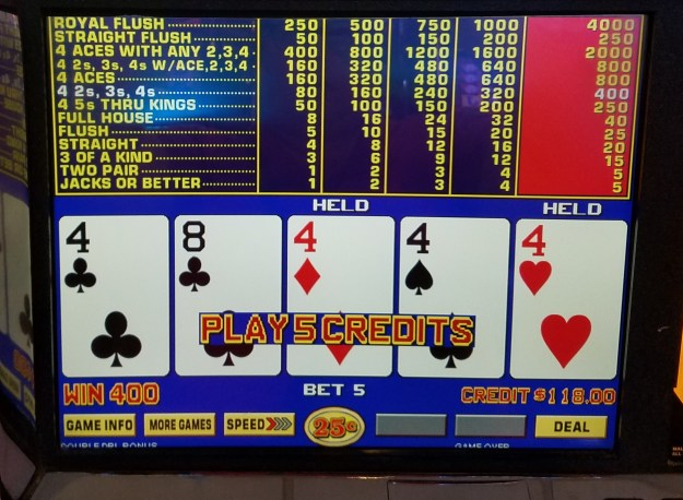 quarter fours double double bonus video poker fremont casino las vegas