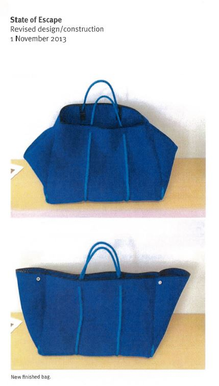 2 images of a soft carry-all tote bag in blue perforated neoprene with sailing rope handles; one image with the sides expanded; the other closed.
