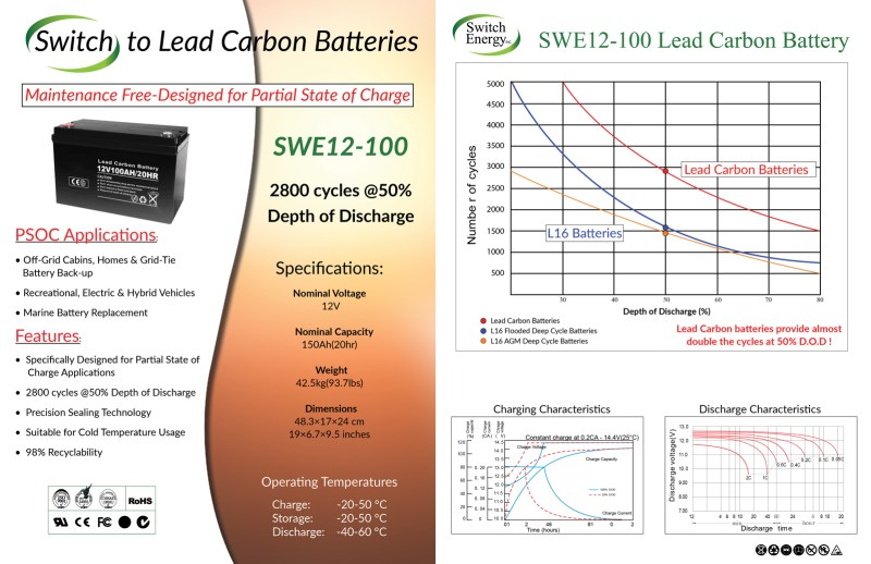12V 100Ah lead carbon batteries